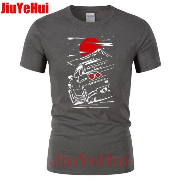 Brand New Cars For Male Nissan Skyline GTR 34 Haruna Men's Car TShirt Fashion Tee TShirtS ThinkNo Summer   T     Shirt