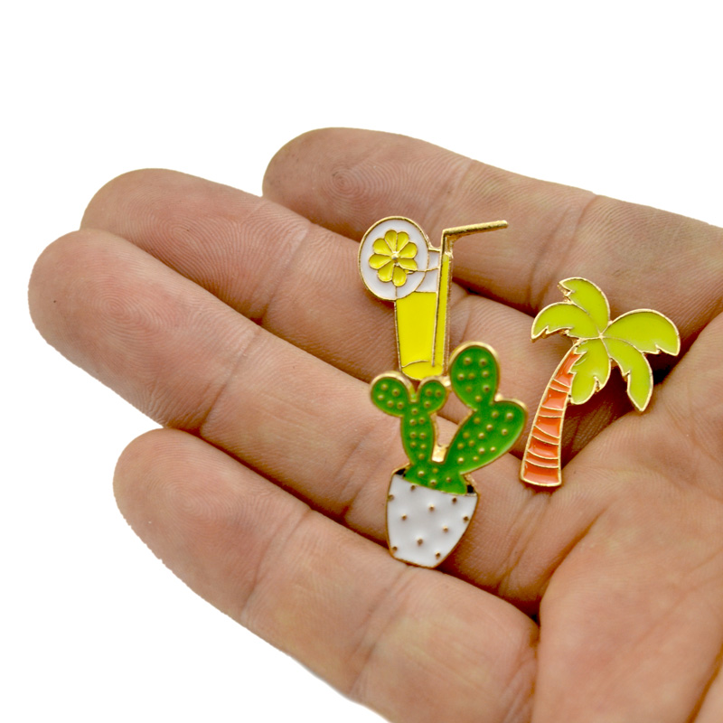 Lot 12 Pcs Womens Collar Brooch Pins Coconut Tree Cactus Orange Juice Badge Brooches For Women Jewelry