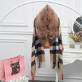Women cashmere cape with huge genuine fox fur trim collar , British style female all-matahced plaid pashmina long poncho