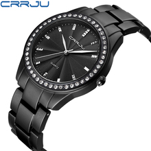 CRRJU Women Watch Luxury Brand Fashion Casual Ladies black Watch Quartz Simple Clock Relogio Feminino Reloj Mujer Montre Femme