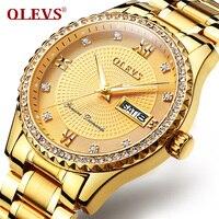 OLEVS Luxury Gold Diamond Men Watches Top Brand Luminous Dial Steel Bracelet Watchband Date Male Clock