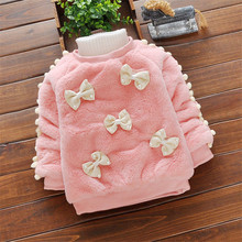 BibiCola New Winter Baby Girls Clothing Outerwear Sweater Furry Thick Sweater Kids Girls Warm Thick Velvet Tops Fashion Clothing girls pullover wool sweater thick warm tops kids ribbed sweater 100