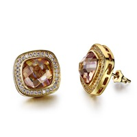 4 Color Crytsal Square Stud Earrings 18k Gold Palted Cz Stone Setting Wedding Party Earring Body