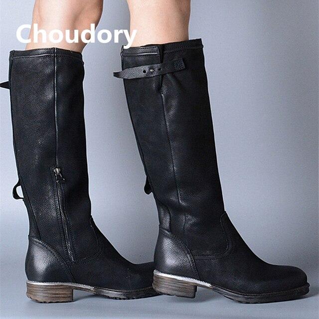 Choudory suede cuero de las mujeres largas botas de de botas moto de tamaño 6dc806
