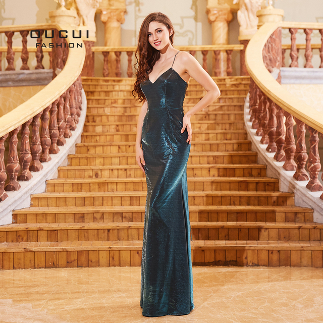 fb89c251ce8 Newest Robe Luxury Sleeveless Evening Glitter Vestido Plus Size Sequin  Dress V Neck Long Formal Dress With Backless OL103306