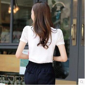 Ladies office Shirt Women White Lace Blouse Short Sleeve Plus Size Korean Crochet Hollow Out Tops Camisas Femininas Qz* 2