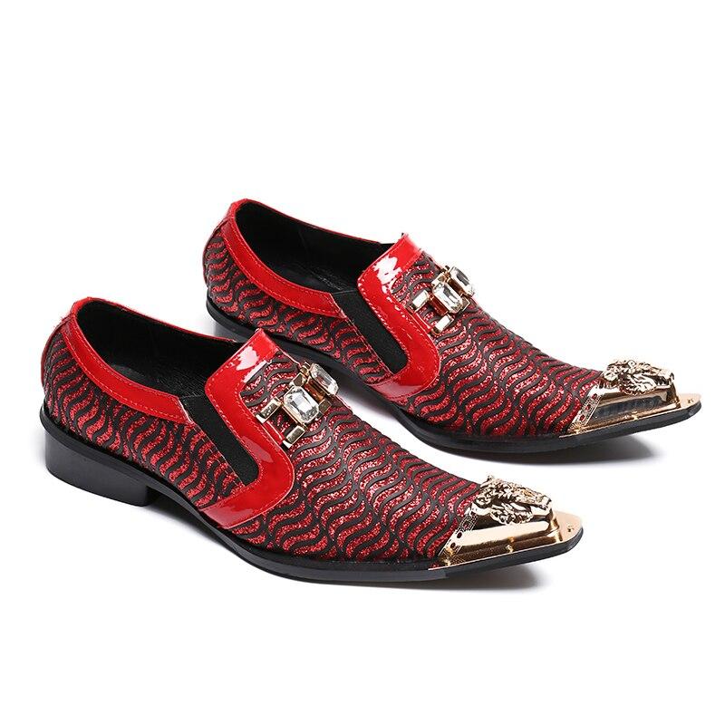 Christia Bella di Nuovo Modo Scarpe Da Sposa Rosso Glitters Mens Scarpe A Punta Bling Bling Casual Pattini di Vestito di Lusso di Marca Scarpe Oxford - 2