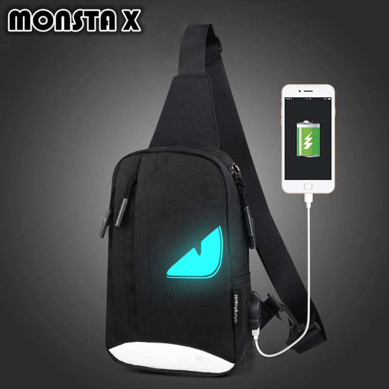 MONSTA X Chest Bag USB Waterproof Casual Single Shoulder Bagpack Oxford Fabric Sling Crossbody Mans Knapsack Travelling Bag