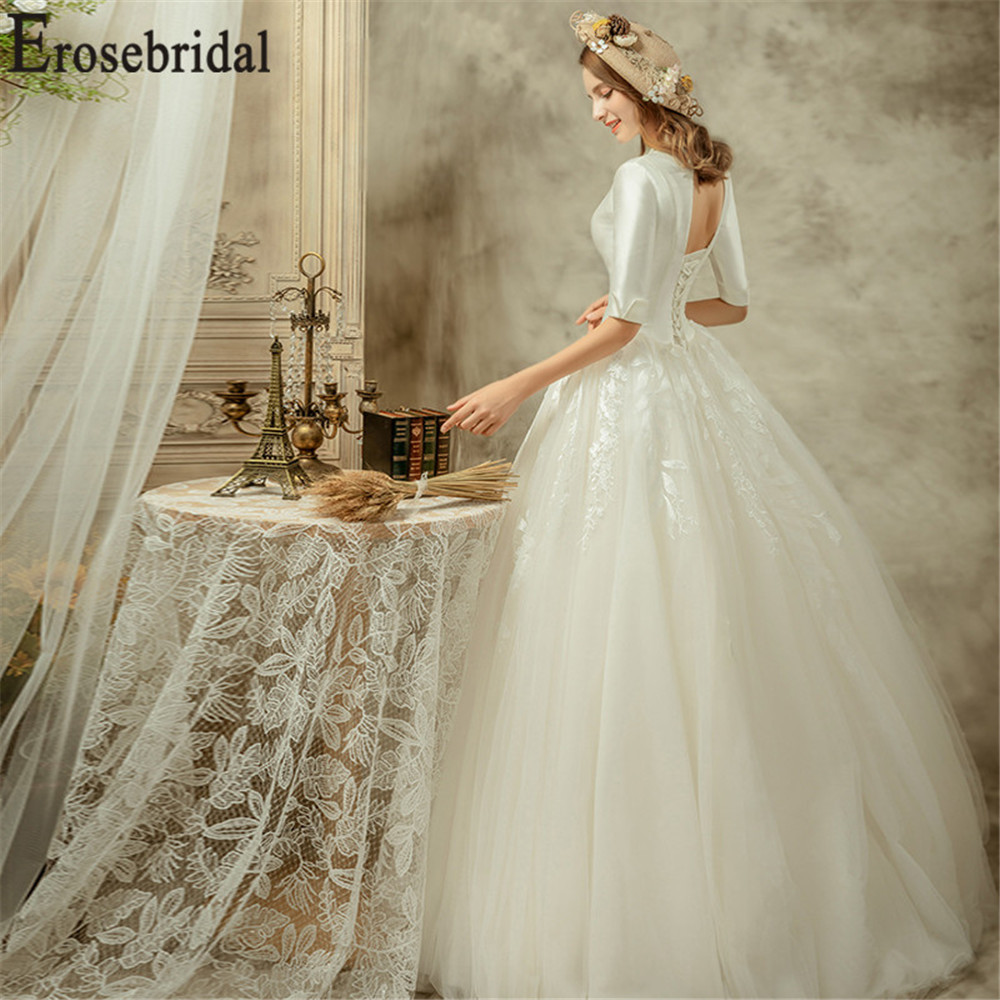 Erosebridal New Arrival Vintage Wedding Dresses Half Sleeve Wedding Gowns V Neck Women Bride Dress Tulle Vestido De Noiva 2019 in Wedding Dresses from Weddings Events