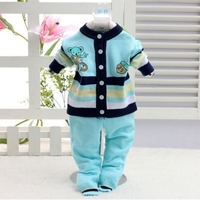 Toddler Striped Cute Clothing Set Infant Knitted Long Sleeve Coat+Pants 2pcs Suits Newborn Cartoon Warm Sweater Set AA52204