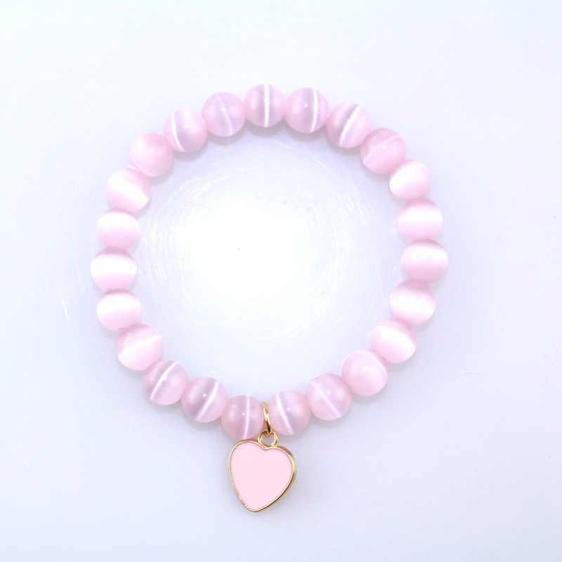 Pulseras bonitas y bonitas para mujer, pulsera de cuentas de piedra Natural con ojos de gato rosa, colgante de amor de 2019, pulsera de piedra mate con dije de la suerte