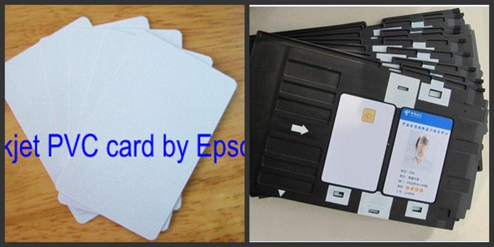 ФОТО Dual Double Side Inkjet Printing Blank White PVC cards 230pcs + card tray 2pcs