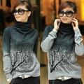 Женщины водолазка шерстяной пуловер свитера дерево шаблон трикотажная топы sml XL