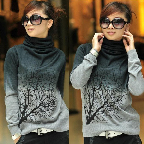 Mulheres gola de lã de bordado camisolas padrão de árvore camiseta de malha Tops sml XL