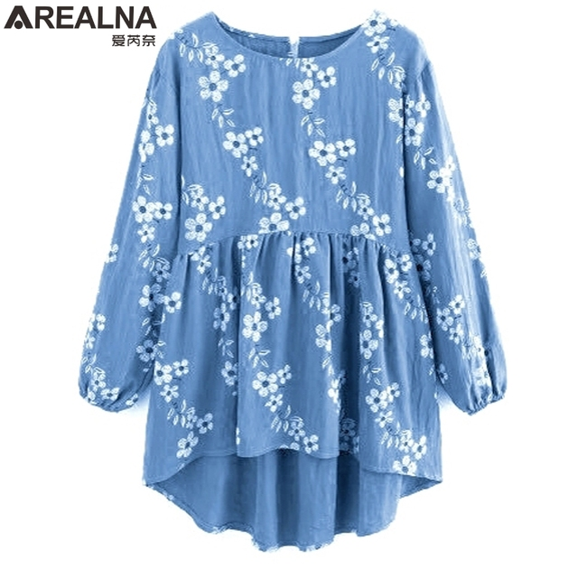 a1b7ce28 Print Frill Hem shirts 2018 spring Kimono Floral Blouse Button Top Ladies  korean fashion o-Neck Long Sleeve women blouses Blusas