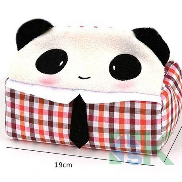 1 unids lindo Panda de la historieta, gato caja de pañuelos patrón ...