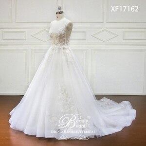 Image 2 - Robe De mariée à col en v, Train Court, avec appliques en dentelle, à perles De cristal, robe De mariée, XF17162