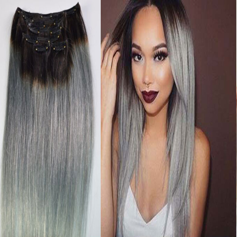 Ombre silver gray clip in human hair extension sexy hot brazilian ombre silver gray clip in human hair extension sexy hot brazilian hair clip in extension full head dark root on aliexpress alibaba group pmusecretfo Images