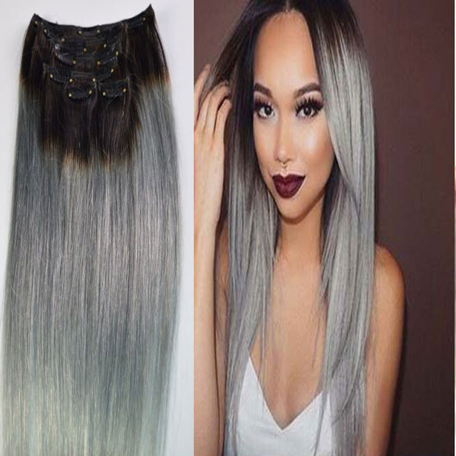 Ombre silver gray clip in human hair extension sexy hot brazilian ombre silver gray clip in human hair extension sexy hot brazilian hair clip in extension full pmusecretfo Choice Image