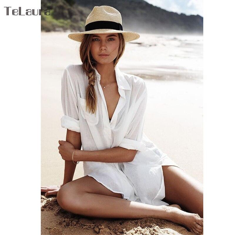 Bikini Cover-Up Beach-Dress Shirt Pareos Tunic Kaftan Long-Sleeve Cotton Women for Size
