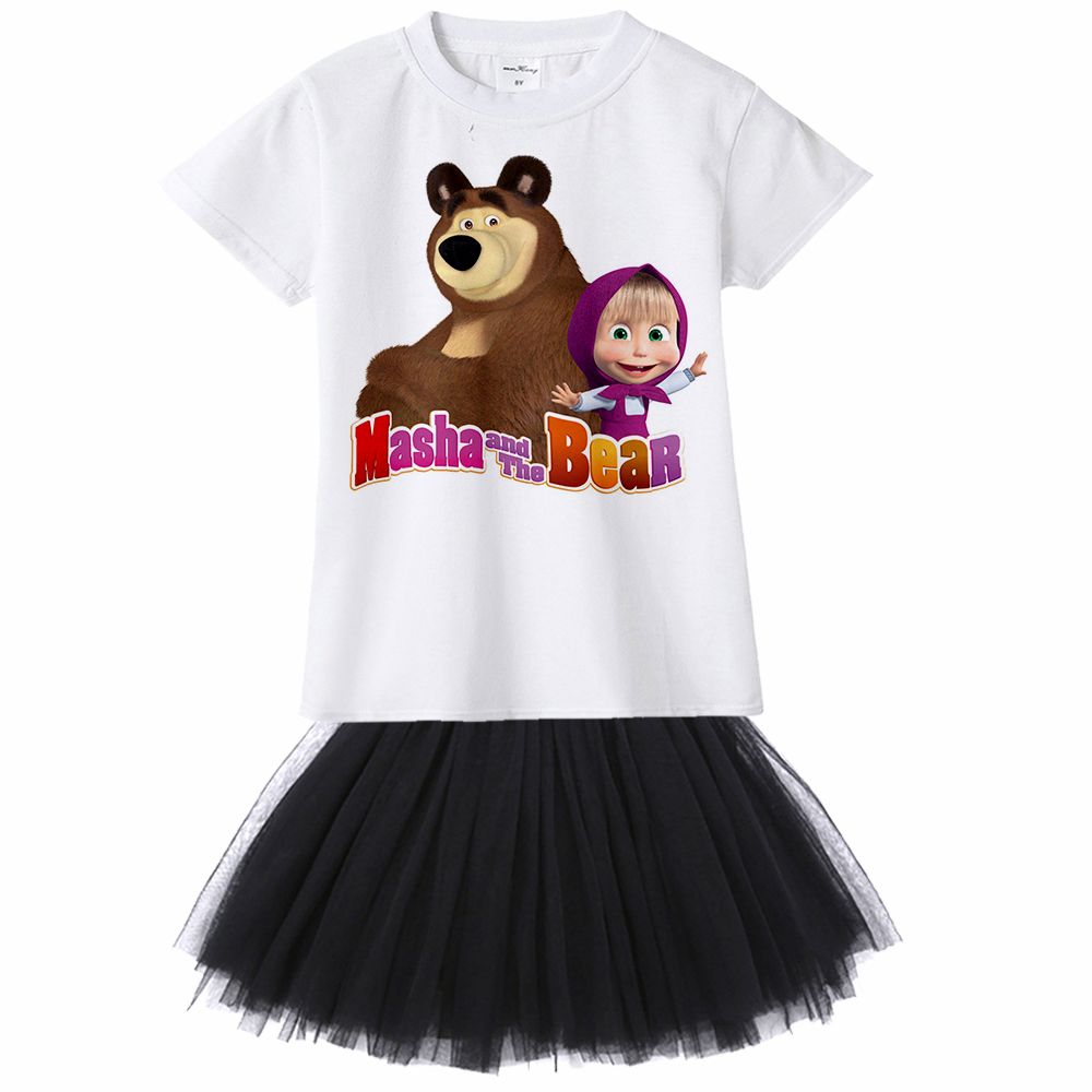 Masha and Bear Girl Summer Dress princess Tutu Dresses for Girl masha e o urso Vestido Menina Robe Fille 10 Ans Ete masha y el o