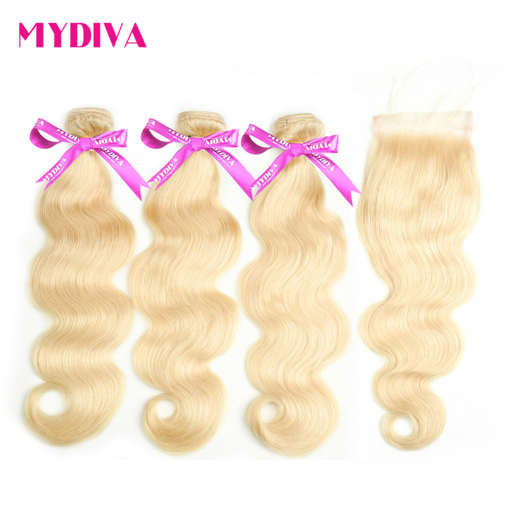 613 Blonde Bundles With Closure Brazilian Body Wave 3 Bundles With Closure Blonde Human Hair Bundles