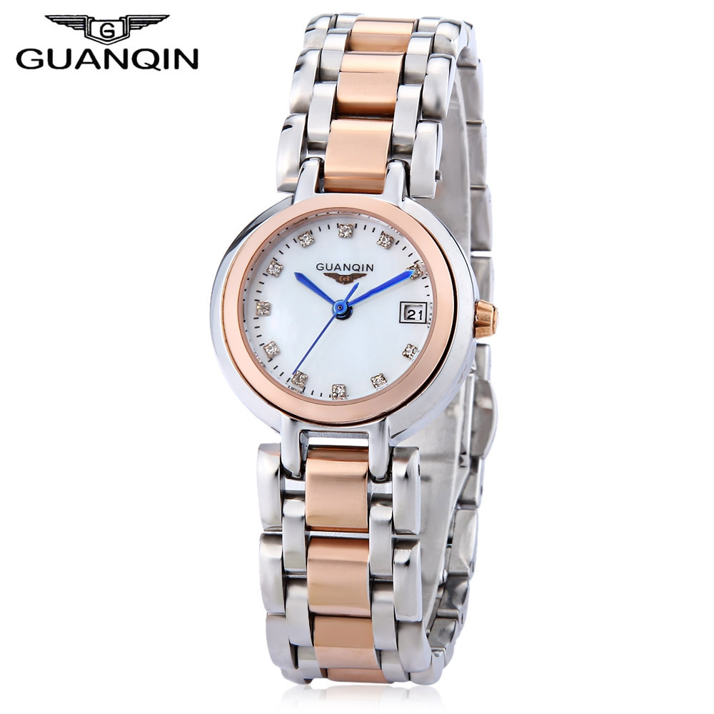 ФОТО GUANQIN Women Quartz Watch Date Display Artificial Diamond Dial 10ATM Stainless Steel Band Wristwatches