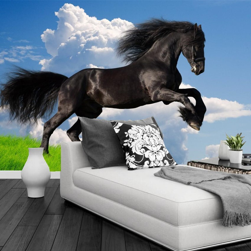 Custom Photo Mural Wallpaper 3D Stereoscopic Black Horse Leaps Wall Mural Blue Sky Wall Paper Living Room Sofa TV Background