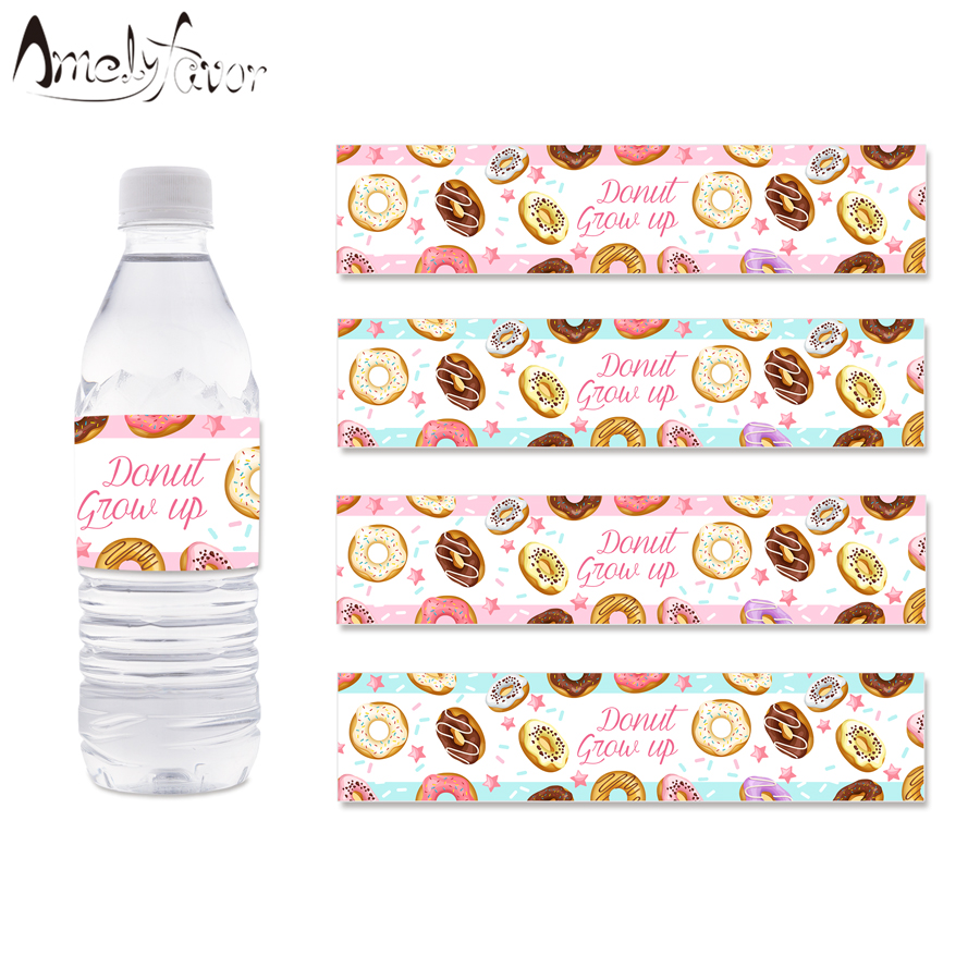 Donut Theme Party Water Bottle Labels Donuts Tea Time Dessert