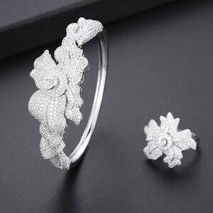 Image 5 - יוקרה עלה דובאי עבור נשים תכשיטים חתונה שרשרת עגילי צמיד טבעת תכשיטי סט parure bijoux femme