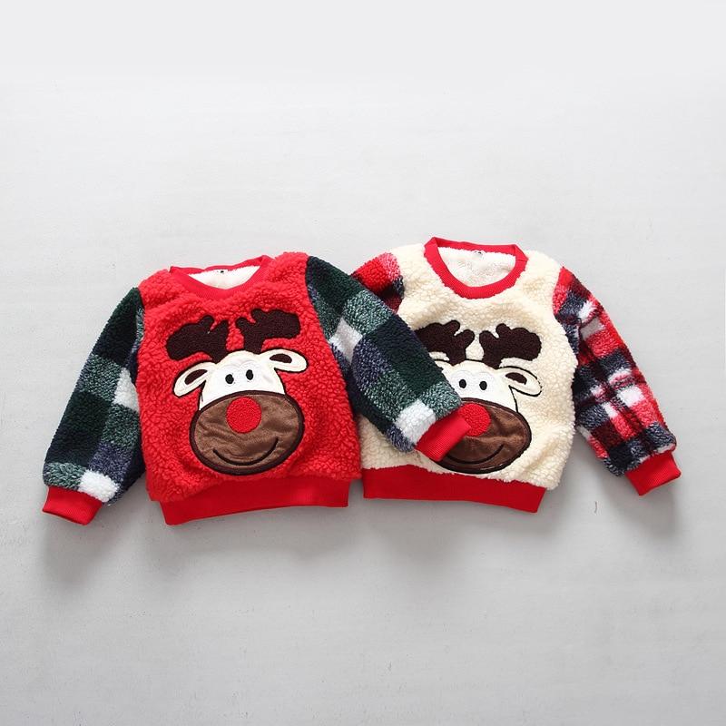 2016 Christmas Deer pattern lamb velvet plus long sleeved baby sweatshirt boys winter wool girls clothes