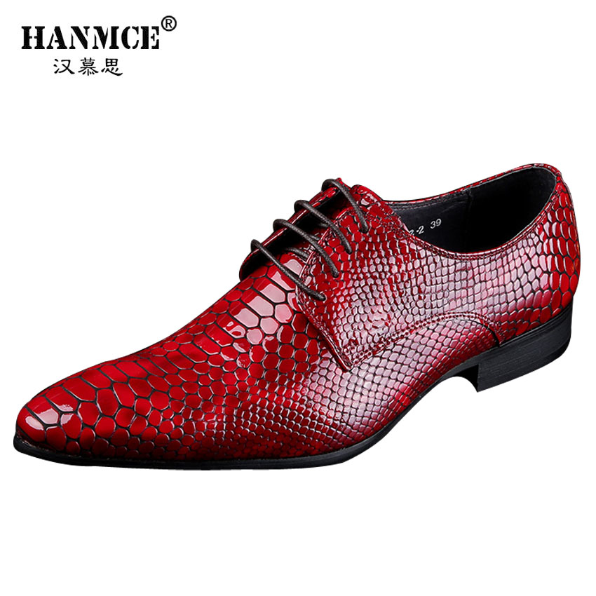 Luxury Italian Brand Wingtip Oxfords Men Genuine Leather Black Red