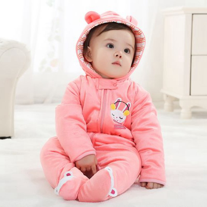 Cute Rabbit Baby Winter Jumpsuit Girls Rompers Hooded Fantasia Infantil Overalls for Toddlers New Born Bebe Clothing Ouerwear 2 pcs lot newborn baby girls clothing set cute pink cotton baby rompers boys jumpsuit roupas de infantil overalls coveralls