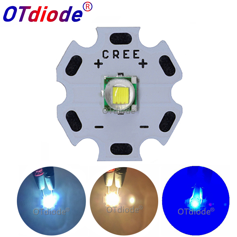 1PCS CREE XML XM-L T6 LED U2 10W Cold White Warm White Blue Red Green UV LED Emitter Diode With 12mm 14mm 16mm 20mm PCB For DIY