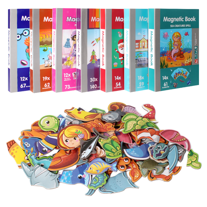 Christmas Gift For Kids Magnetic Book Magnetic Puzzle Cute Design Puzzles Magnetic Toy Jigsaw Baby Toys Learning Spell