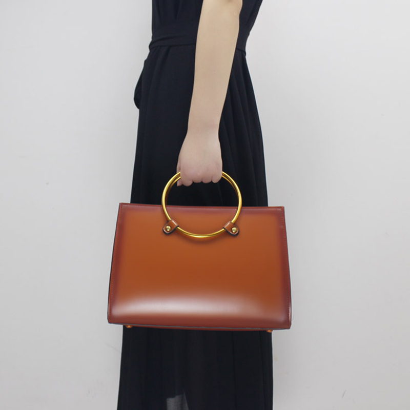 Fashion Women Handbag Genuine Leather 2018 Lady Shoulder Bag Handmade Tote Elegant Messenger Crossbody Bags with Metal Handle metal handle winged tote bag