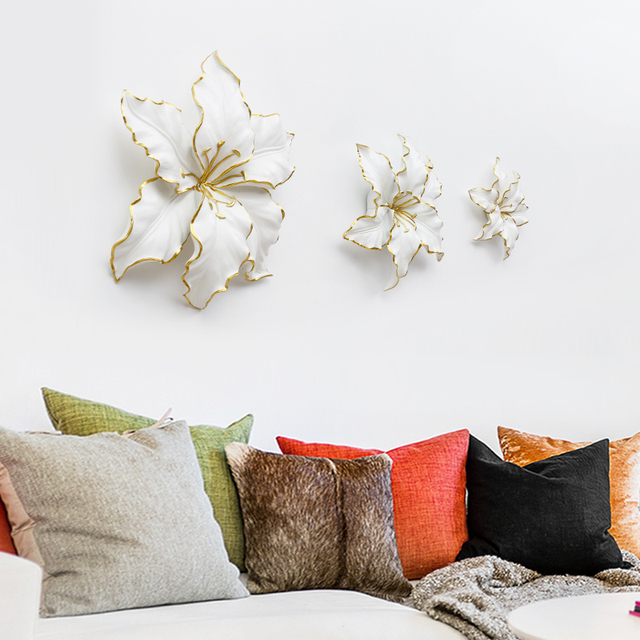 Современный настенный кулон домашнего интерьера стерео цветок лилии стены украшения диван в гостиной ТВ стены