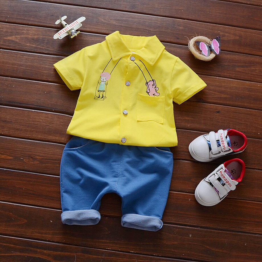 b6ae5a3e9543b 新生児の赤ちゃん男の子服セットブランド半袖プリントシャツ+ショートパンツ幼児服セット