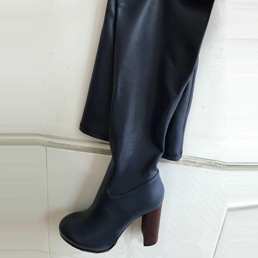 Sur Rouge Boot Serrer Femmes Mode Prova vin Véritable Apricot Talon De Chunky Cuir Stretch Cuissardes bleu Le Perfetto Automne Bottes En Genou FFv8qA1Z
