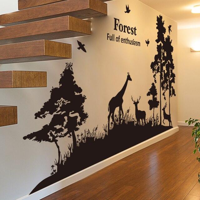 SHIJUEHEZI] Customized Forest Wall Sticker Zoo Animal Giraffe ...