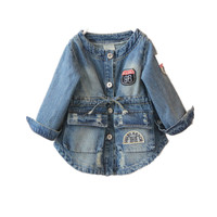 2015 Girls Jacket Autumn Spring Fashion Coats New Warm Large Pocket Denim Outer Garment Kids Solid
