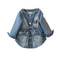 2015 Girls Jacket Autumn Spring Fashion Coats New Warm Large Pocket Denim Outer Garment Kids Solid