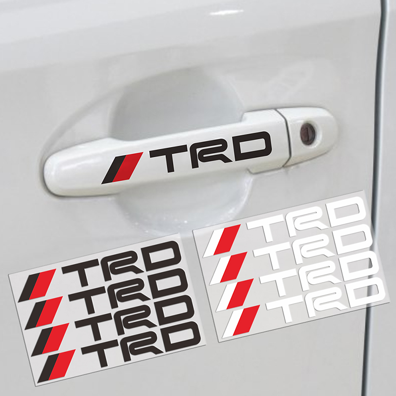 4pcs Car Styling TRD Logo Door Handle Car Stickers Decoration For Toyota Corolla Chr Avensis Yaris Rav4 Camry Car Accessories