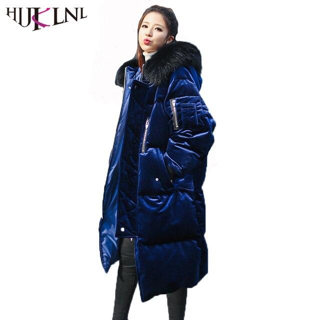 424aa711569f3 HIJKLNL abrigo plumas mujer Winter Long Down Jacket With Real Raccoon Fur  Women Velevt Thick Hooded Duck Down Coat Parka NA390