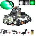 BORUIT 6000LM 3x XM-L T6 + 2R2 зеленый светодиодный налобный фонарь + зарядное устройство + 2X 18650 Аккумулятор для кемпинга  рыбалки  велоспорта  скалолаза...