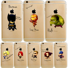 Iron Man Avengers hit the glass Phone bag case For iPhone 6 6S 6Plus 6SPlus 5 5s 5se Funny Pattern Transparent Cover For i Phone