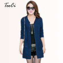 Women's Clothing Soft and Comfortable Coat Women Spring Autumn Knitted V-Neck Long Cardigan Female Sweater Jacket(China)