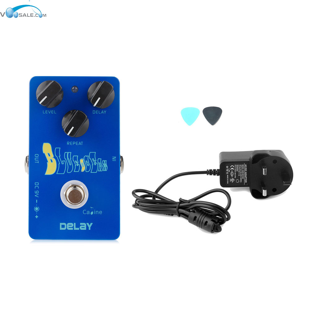Caline CP-19  Blue Ocean Delay Guitar Effect Pedal With True Bypass+AC100V-240V to DC9V/1A Adapter Use Have AU UK US EU Plug caline cp 26 guitar effect pedal snake bite reverb effect pedals true bypass design with delay effect no coloring sound