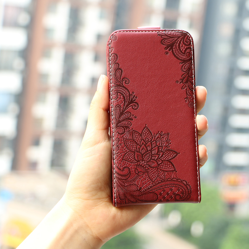 Vintage Business Embossed flower butterfly towel flip up and down leather case cover for Digma Hit Q500 3G