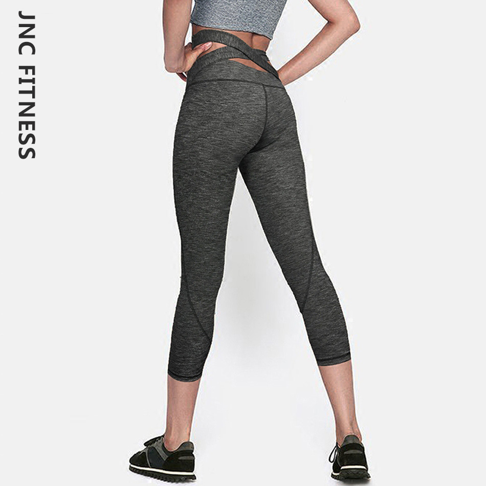 JNC Womens Cross Back Yoga Capri Leggings High Waist Workout Pants 4 Way Stretch Running Tights Grey Fitness Workout Capris SML